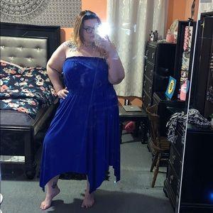 Blue strapless cotton dress!